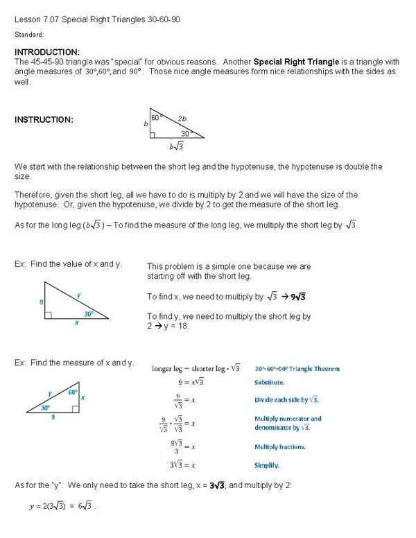 Printables Special Right Triangles 30 60 90 Worksheet Answers 30 60 90 triangles worksheet davezan 1000 images about 1 special right lesson on pinterest collection of worksheet