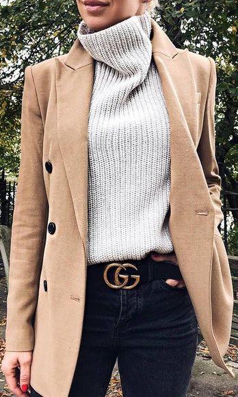 sweater beige long jacket grey jeans