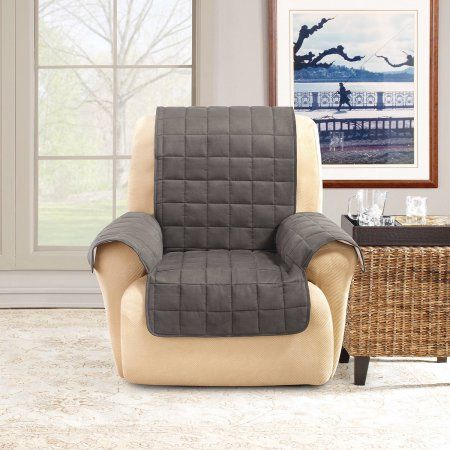 Sure Fit Ultimate Waterproof Quilted Pet Recliner Cover, Gray