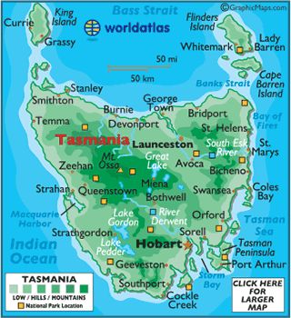 Image result for map of tasmania