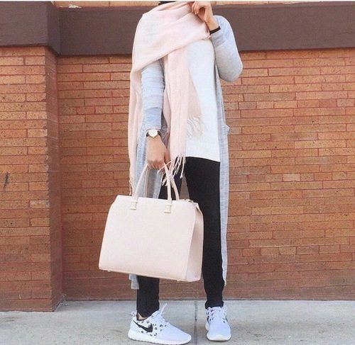 long gray cardigan hijab- Hijab fashion and Muslim style http://www.justtrendygirls.com/hijab-fashion-and-muslim-style/