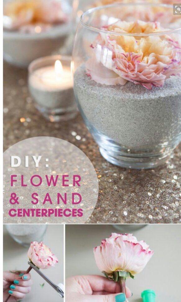 DIY Flower & Sand centerpieces