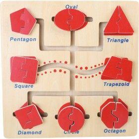 Učenie rovinných geometrických tvarov hravou formou! Hracia doska obsahuje 8 základných rovinných geometrických tvarov, ktoré však musí dieťa zložiť z dvoch častí. Deti si osvoja základné geometrické tvary ako sú: kruh, štvorec, obdĺžnik, trojuholník, ovál, päťuholník, šesťuholník a lichobežník. Okrem určovania tvarov deti musia porozmýšlať ako presunúť jednotlivé časti po hracej doske a ktoré patria k sebe.