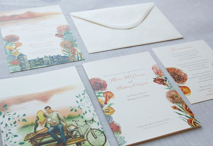 Maria and Anthony, Knockranny House at Sunset . Wedding Stationery from Appleberry Press