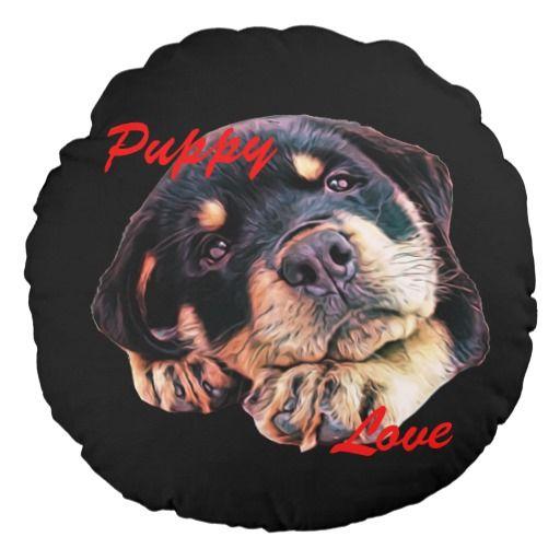 Rottweiler Puppy Love Rott Dog Canine German Breed Round Pillow #rottweiler #puppy #puppies #puppydog #puppypillow #doglovers