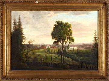 FERDINAND GJØS 1790 - 1852  Landscape  Oil on canvas, 47x68 cm  unsigned  Possible motif from Oslo, Vestre Aker.