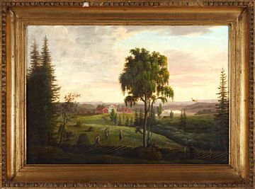 FERDINAND GJØS 1790 - 1852  Landscape  Oil on canvas, 47x68 cm  unsigned  Possible motif from Oslo, Vestre Aker.