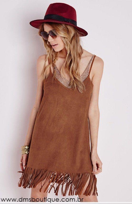 Vestido de Camurça com Franjas - Vestidos | DMS Boutique