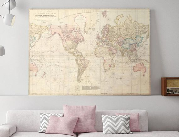 World Map Canvas, Large World Map, Map of the World, Map of World ...