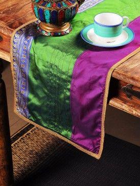 Multi-Color Handloom Silk Runner  35.5in x  13in