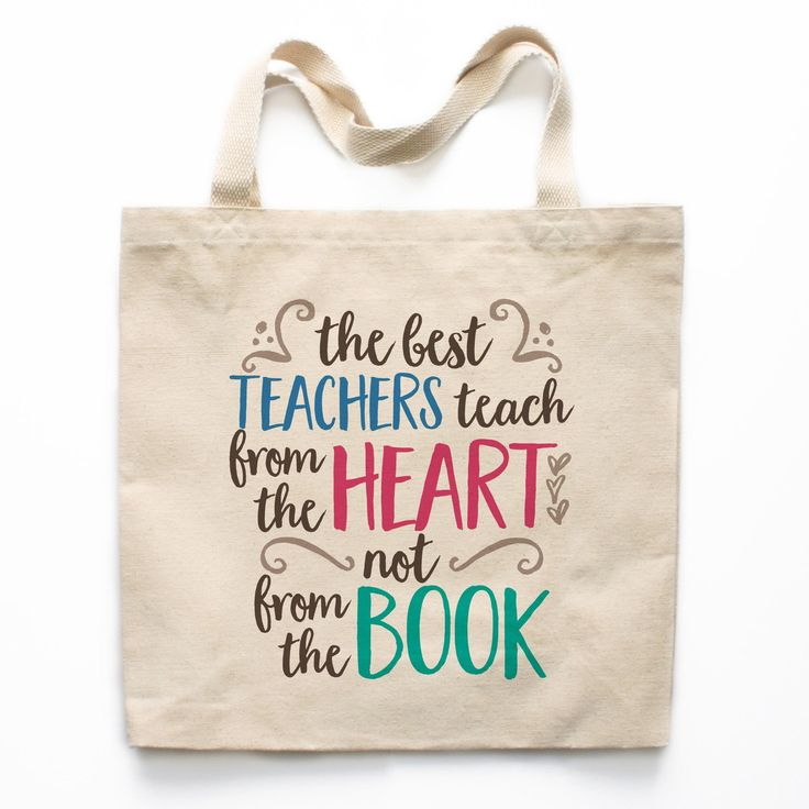 Teachers Teach from the Heart Canvas Tote Bag #appreciationgifts