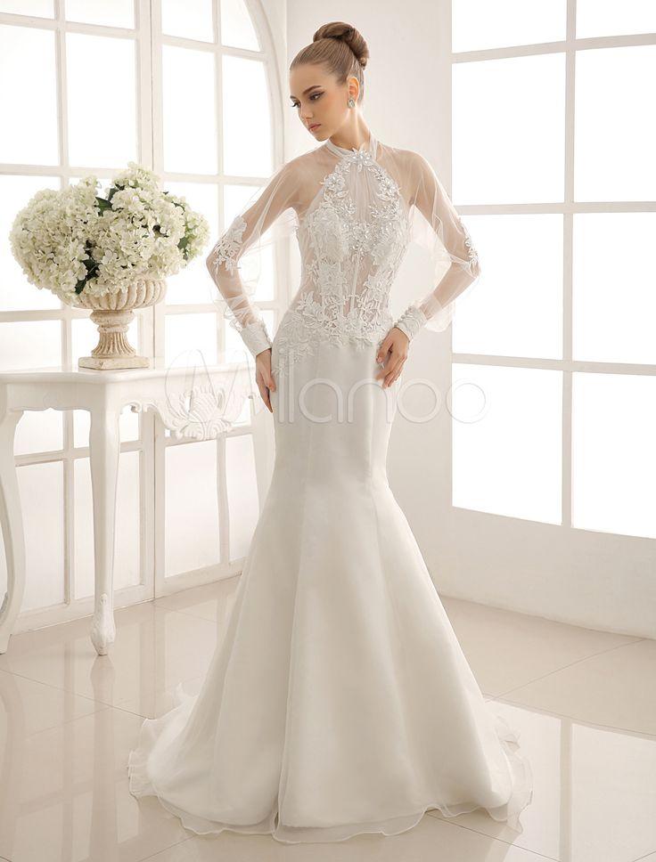 ウェディングドレス,マーメイドライン オーダーメイド可能 ボレロ付き ホルターネック Milanoo