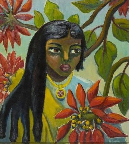 Maggie Laubser (South African: 1886 – 1973) - Indian girl with poinsettias
