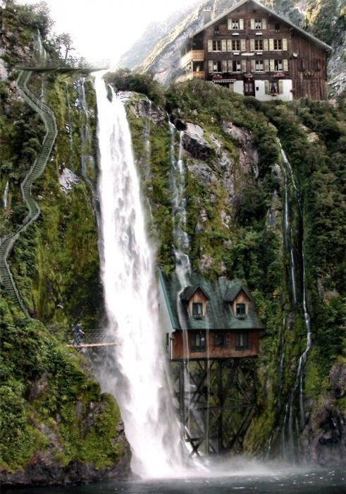 what...: Dreams Home, Stairs, Waterf House, Beautiful, Dreams House, Waterfalls House, Switzerland, Places, Fantasy House