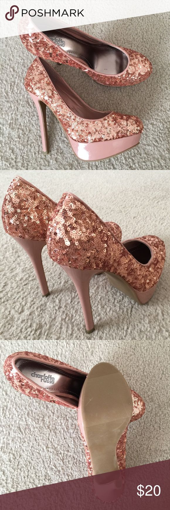 """Charlotte Russe Chunky Sequin Platform Pump Size 8 Sparkly platform pumps from Charlotte Russe! These heels are covered in rose gold sequins and have a 1.25"""" platform, and a 5"""" heel. These have hardly been worn, but they have a couple minor flaws inside-- please see pictures for details. Gorgeous shoes for wedding, prom, or a night out! 😊 Charlotte Russe Shoes Heels"""