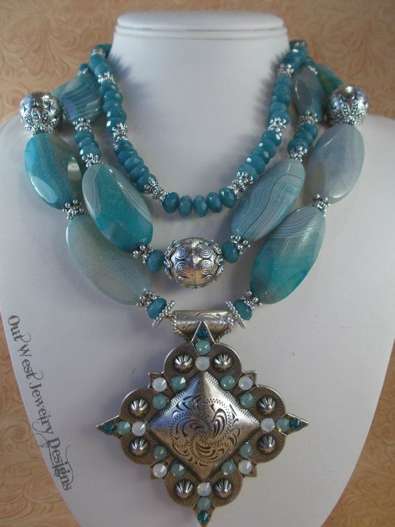 Western Rodeo Cowgirl Necklace Set  Chunky Icy Blue Agate and Jade by Outwestjewelry