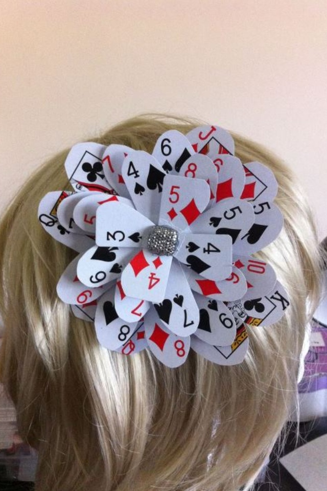 flower made of playing cards