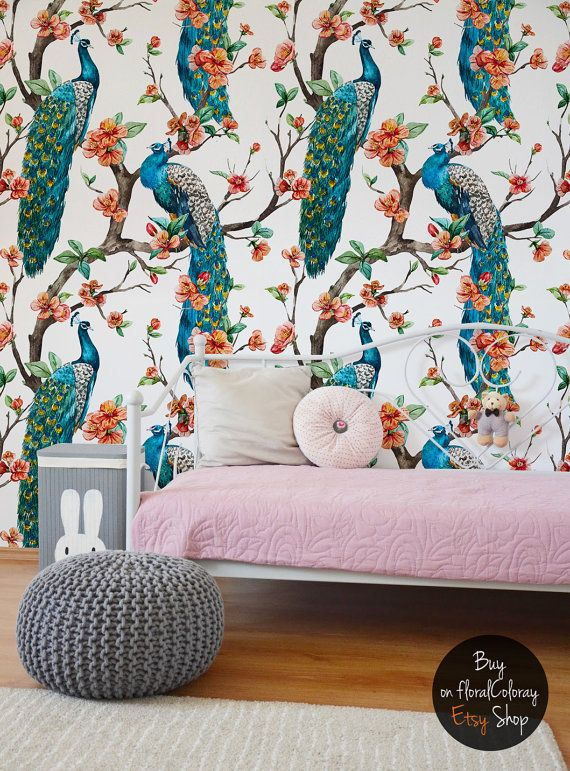 Colorful peacocks wallpaper || Watercolor floral wall mural || Exotic wall decal || Reusable || Removable #94