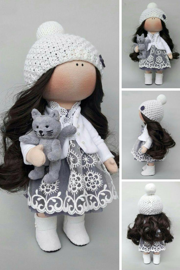 Fabric doll Tilda doll Rag doll Textile doll Muñecas Handmade doll Bonita doll Art doll Grey doll Soft doll Cloth doll Baby doll by Irina E
