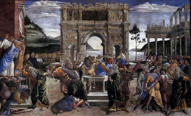 http://lilac2012.livejournal.com/396956.html Наказание Корея Музеи Ватикана, Ватикан (Musei Vaticani, Vatican). 1481-82. 348.5 x 570. фреска. Сикстинская капелла
