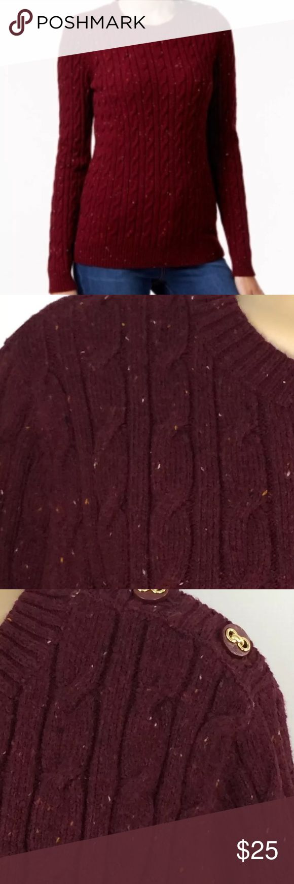 Charter Club Button Detail Speckled Cable Knit XL New With Tag Burgundy Charter Club Button Detail Speckled Cable Knit Sweater XL 54% cotton 20% nylon 18% acrylic Charter Club Sweaters Crew & Scoop Necks