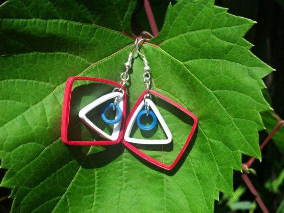 4th of July earrings - Independence Day earrings, red white and blue earrings, patriotic earrings, paper quilled earrings, American earrings