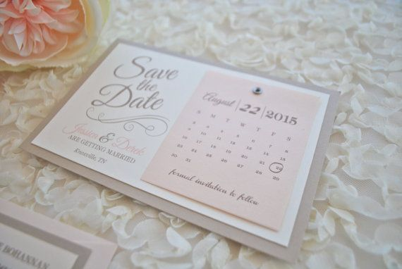 Romantic Champagne and Blush Save the Date by OuttheBoxCreative