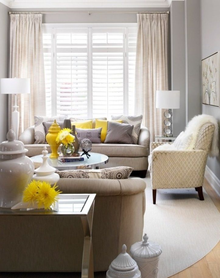#pops-of-yellow This is a great example of the grey, flax, neutral combo with some pops of yellow.
