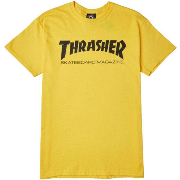 Thrasher Magazine Skate Mag Yellow Black Men's Short Sleeve T-Shirt... ($22) ❤ liked on Polyvore featuring men's fashion, men's clothing, men's shirts, men's t-shirts, mens short sleeve t shirts, mens yellow shirt, mens t shirts, mens short sleeve shirts and mens yellow t shirt