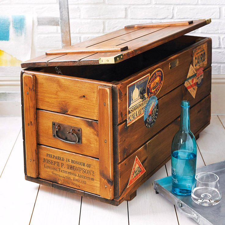 A beautiful handmade storage box themed in the style of the vintage steamer travel trunks from days gone by, with vintage style luggage labels.We have in the past personalised these trunks for clients to reflect family names, honeymoon destinations, wedding venues, expeditions, even Tibetan mantras (see photos). We can personalise the ends of the trunk, using our own unique method of printing directly onto the wood. We get a lot of requests to personalise the lables to places you have been…