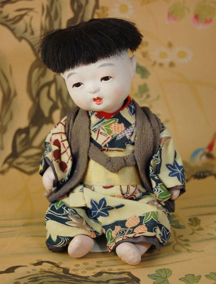 "Japanese Ichimatsu gofun composition baby boy doll  7 1/2""  original"