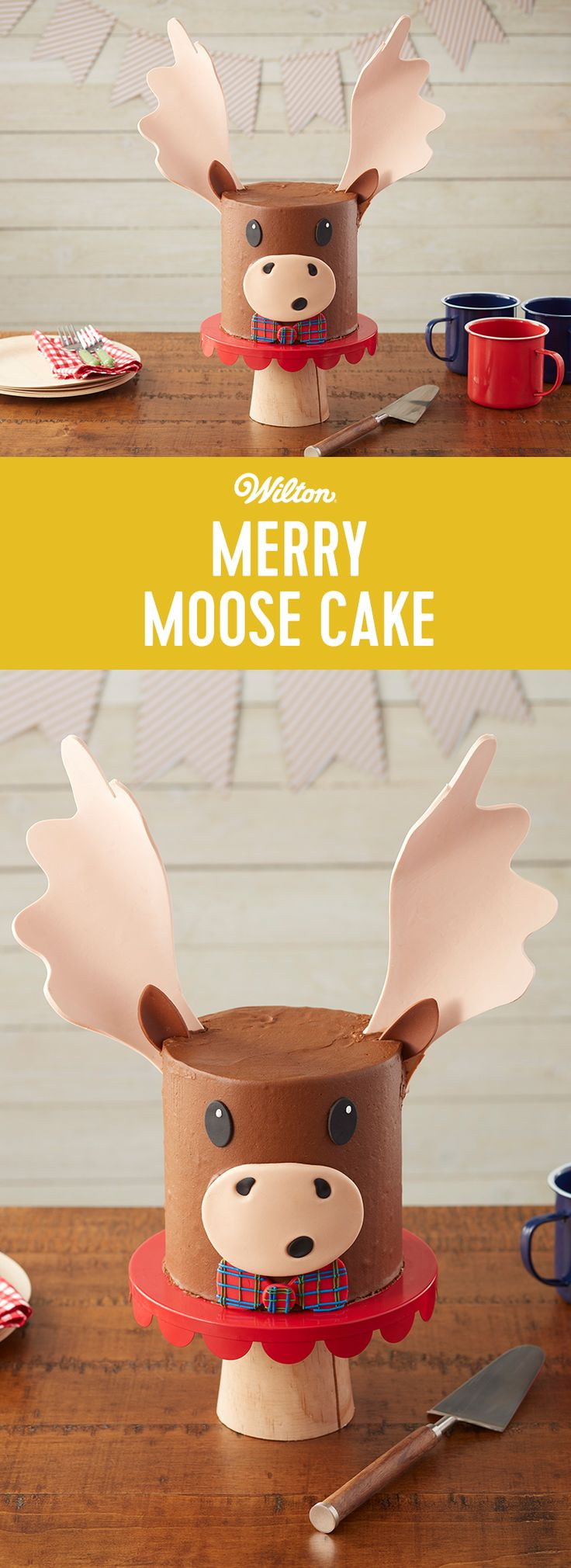 Who doesn't love a merry moose, eh? This Merry Moose Cake is dressed up with a cute basketweave bow, ready for your Christmas party, Canada Day celebration or your winter-inspired woodland party. His antlers are made using gum paste, which has to dry for about three days, so plan ahead if you're making this cake for a party. #wiltoncakes #cake #animalcake #buttercream #fondant #gumpaste #moose #desserts #birthday #winter