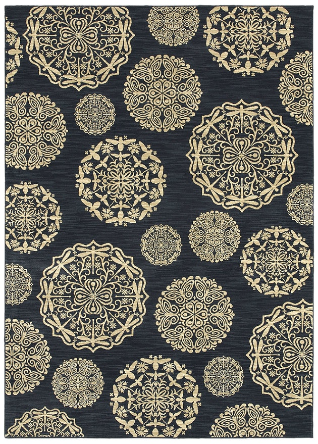 """Area rug in style """"Queen Anne's Lace"""" color Navy - by Shaw Floors"""