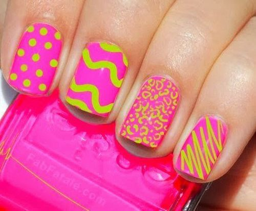 Easy And Simple Neon Nail Design Ideas
