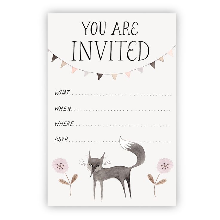 Little Black Fox Party Invitation printable download