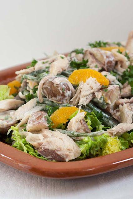 Salade van nieuwe aardappel, sperziebonen en makreel