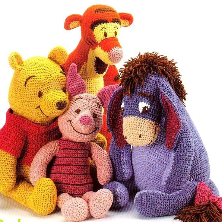 DIGITAL DOWNLOAD PDF  Vintage Crochet Pattern Winnie the Pooh Tigger, Piglet and Eeyore Toy Retro by ToysWereUsPatterns on Etsy