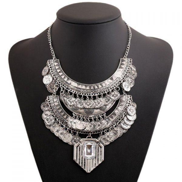 $7.78 Vintage Coin Tassels Layered Women's Ethnic Style Statement Necklace