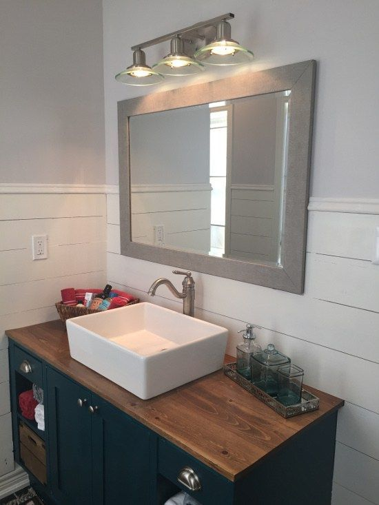 Bathroom Makeover Reveal   Shiplap walls   builder vanity diy hack   teal  vanity   DIY. Best 25  Vessel sink vanity ideas on Pinterest   Bathroom ideas on