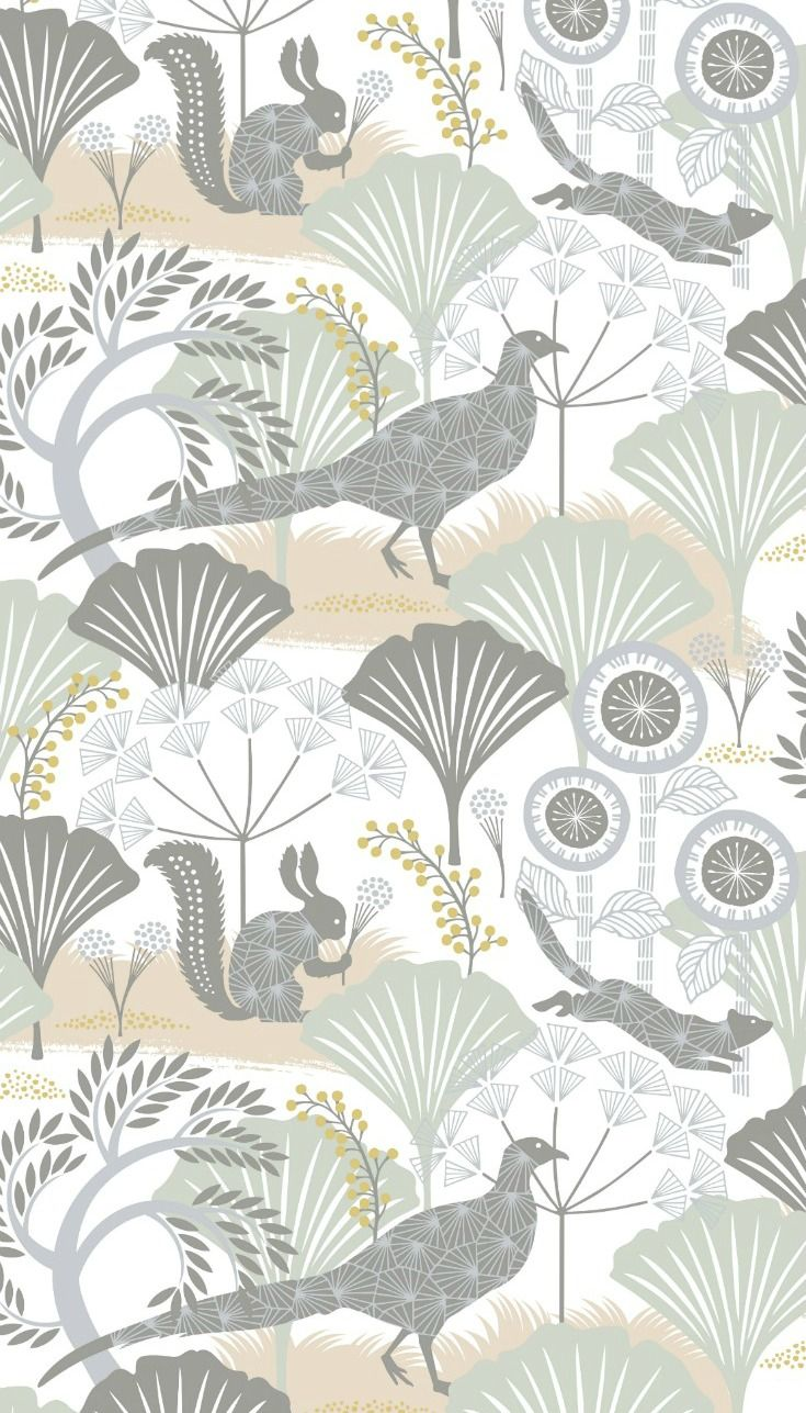 Woodland animals camouflaged amongst a forest of magical giant flowers in this beautiful wallpaper design.