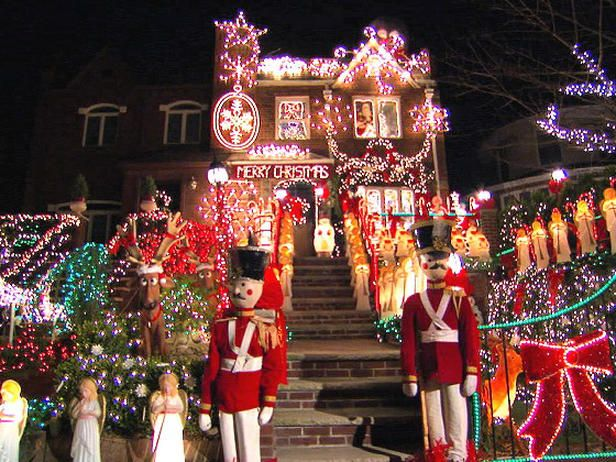 Christmas decorating a house