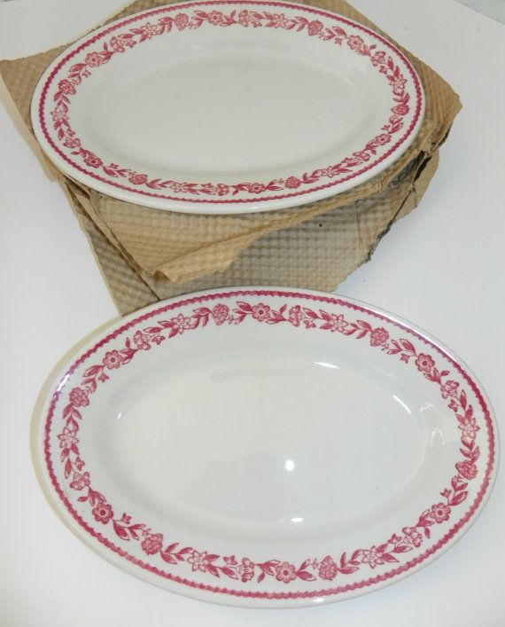 LAST SET NOS Buffalo China Diner Ware Restaurant Ware Floral Band Red Burgandy Plates Pottery  sc 1 st  Pinterest & 12 best Buffalo China images on Pinterest | Bison Buffalo and Dishes