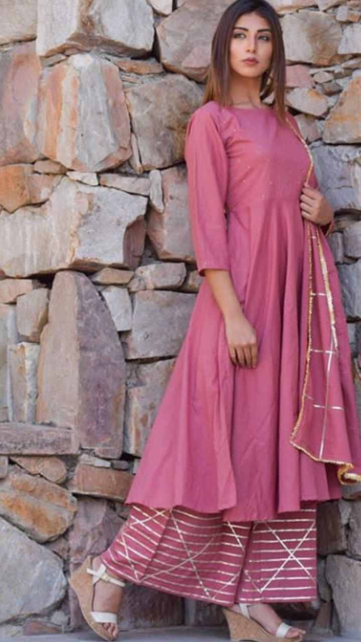 78a0b3f690256 Beautiful Chanderi Kurti. Paired with Plazo Pant and dupatta. Embellished  with gota patti. Simple and classic design. #kurti #dress #secretlabel  #winter