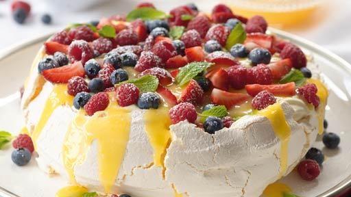 Lemon Butter Pavlova with Fresh Berries and Cream | Recipes | MasterChef Australia by Curtis Stone