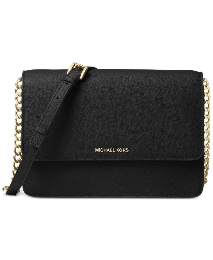 Hung from a shiny chain-link strap for effortless around-the-clock carry, this slim crossbody offers elegant organization in rich Saffiano leather. By Michael Michael Kors. | Saffiano leather; lining: