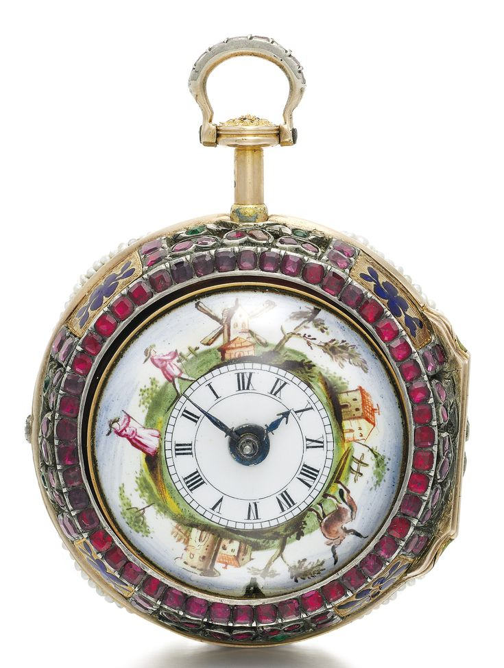 James Cox, London A VERY RARE AND UNUSUAL GOLD, ENAMEL, RUBY AND PEARL-SET QUARTER REPEATING VERGE WATCH WITH CONCEALED EROTIC SCENE MADE FOR THE CHINESE MARKET WITH MATCHING ENAMEL ASSOCIATED CHAIN CIRCA 1770,