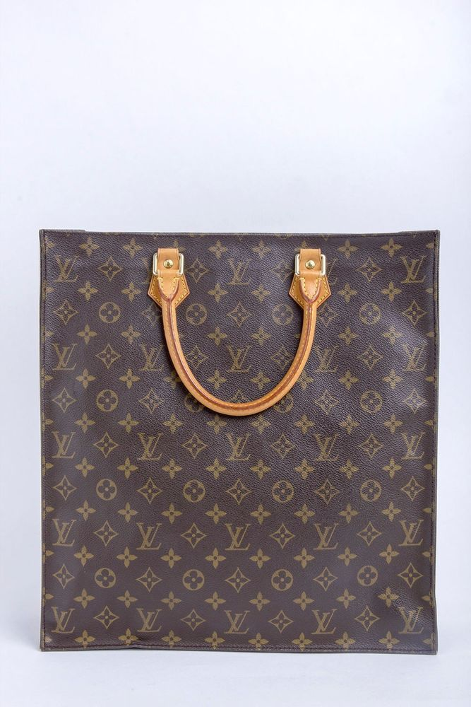 Auth LOUIS VUITTON Monogram Sac Plat Tote Bag #LouisVuitton #TotesShoppers