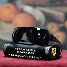 Mens Wrap Around Square Shield Khan Sunglasses Black | eBay