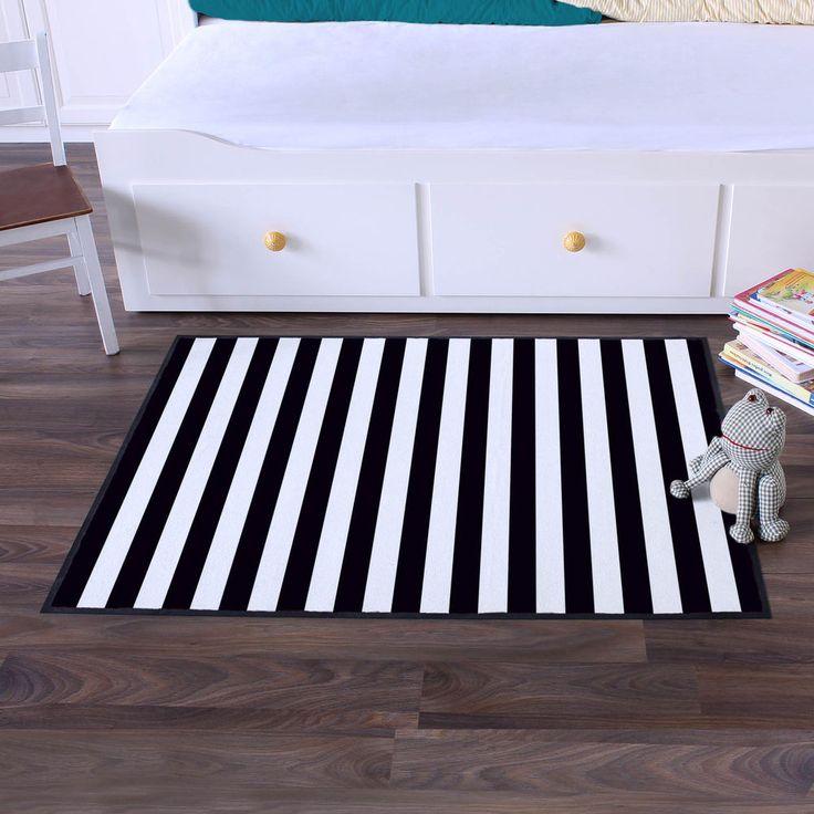 motiv matte abstreifer fu matte spielteppich streifen schwarz eingang waschbar in m bel wohnen. Black Bedroom Furniture Sets. Home Design Ideas