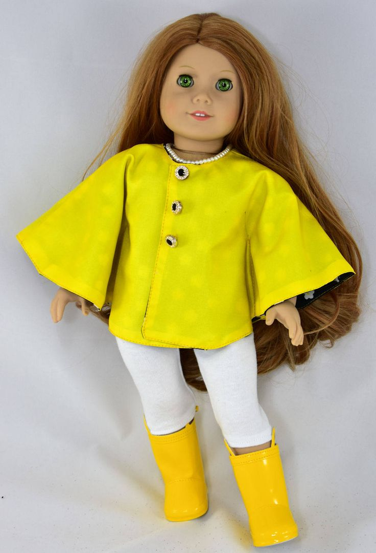 Classic Rain Jacket PDF sewing pattern for 18 inch Doll like American Girl Doll and Pleasant Company pre-Mattel, jacket rain coat clothes